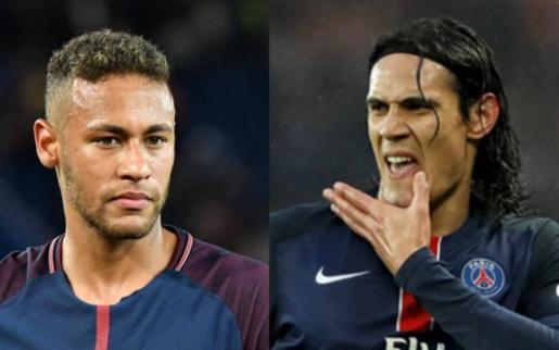 Los jugadores del PSG Neymar y Edinson Cavani.