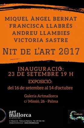 La Galería ArtMallorca acoge una exposición colectiva con obras de Miquel Àngel Bernat, Andreu Llambies, Francisca Llabrés y Victoria Sastre.