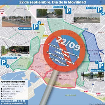 Este viernes, 22 de septiembre, estará prohibido estacionar en la zona azul de Palma.