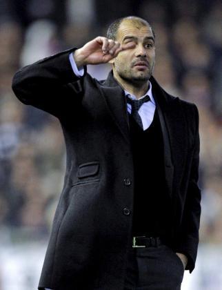 El entrenador del FC Barcelona, Pep Guardiola, durante el partido correspondiente a la vigesimosexta jornada de Liga en Primera División, disputado el pasado 5 de marzo ante el Valencia en el estadio de Mestalla.