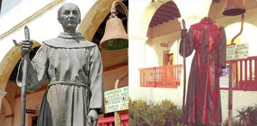 Imagen de la escultura del santo mallorquín antes y después de su profanación por desconocidos.