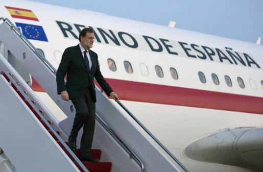 Imagen facilitada por Presidencia del Gobierno, de la llegada del jefe del Gobierno español Mariano Rajoy a Washington.