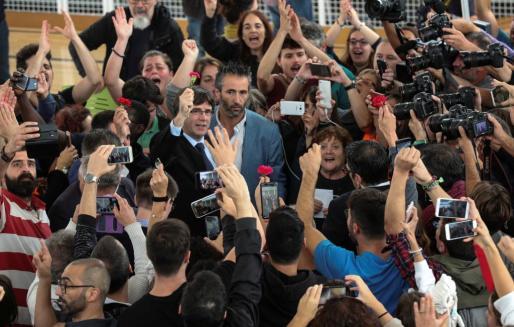 Carles Puigdemont, antes de realizar las declaraciones ante la prensa.