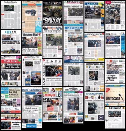 Portadas de la prensa europea tras el 1-O.