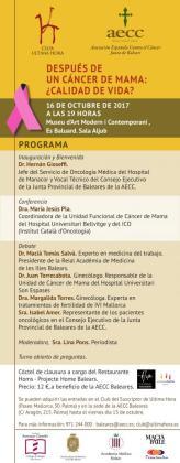 Programa de la jornada 'Después de un cáncer de mama: ¿calidad de vida?'.