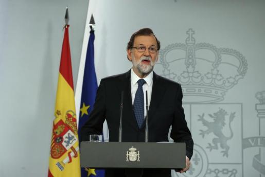 El presidente del Gobierno, Mariano Rajoy, durante la declaración institucional del pasado domingo.