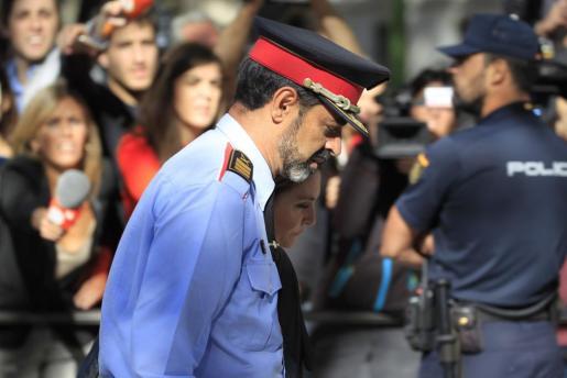 El jefe de los Mossos d'Esquadra, Josep Lluis Trapero, a su salida de la Audiencia Nacional.