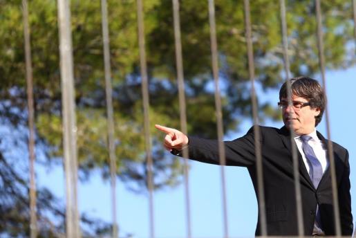 Carles Puigdemont durante el homenaje a Lluís Companys en el 77 aniversario de su fusilamiento.