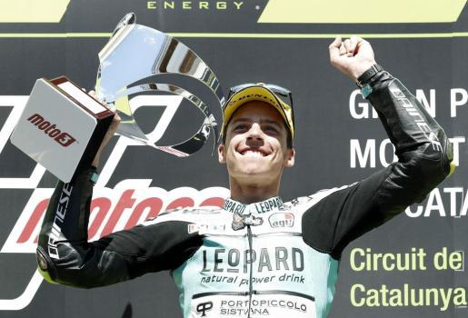 Joan Mir celebra su victoria en el Gran Premi de Catalunya, una de sus ocho victorias esta temporada. En Australia busca otra.