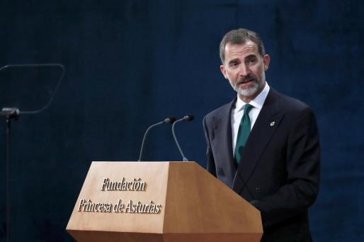 El rey Felipe durante su intervención en la ceremonia de entrega de los Premios Princesa de Asturias 2017.