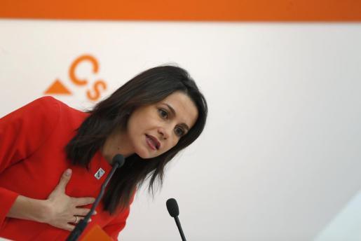 La portavoz nacional de Ciudadanos y líder de la oposición en Cataluña, Ines Arrimadas, en rueda de prensa tras la Ejecutiva del partido naranja.