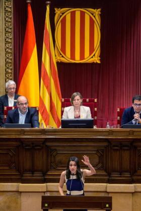 La lider de Ciudadanos en Cataluña Inés Arrimadas, durante el pleno del Parlament que debate de forma monográfica la respuesta a la aplicación del artículo 155 de la Constitución.