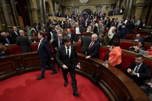 Imagen de la sesión del Parlament de Cataluña en la que se debatió sobre los efectos de la aplicación del 155.