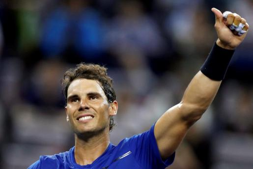 Tennis - Shanghai Masters tennis tournament - Shanghai, China - October 11, 2017 - Rafael Nadal of Spain celebrates his win against Jared Donaldson of the U.S. REUTERS/Aly Song TENNIS-SHANGHAI/