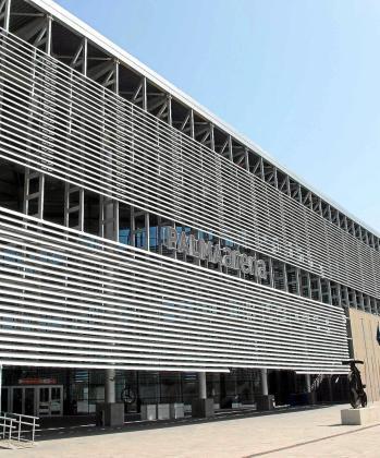 Fachada del velódromo Palma Arena, sede de la Conselleria de Cultura, Participació i Esports.
