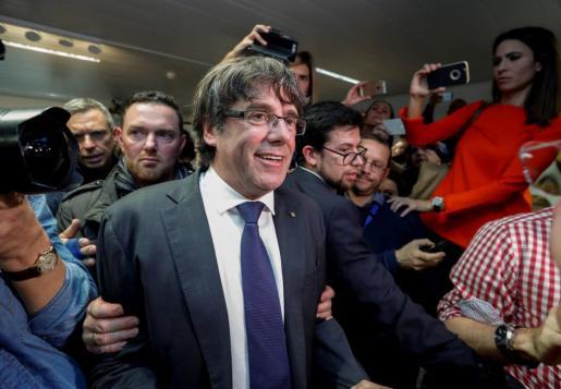 El expresident catalán, a su llegada a la comparecencia que ha ofrecido en Bruselas.