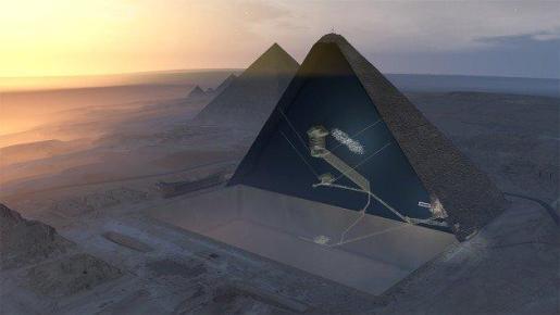 Descubren una nueva cámara en la Gran Pirámide de Keops gracias a la física de partículas.