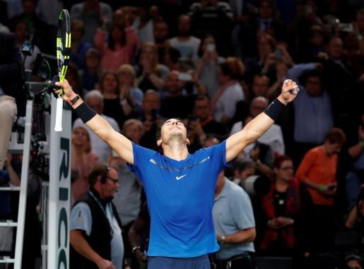 Rafael Nadal celebrando la victoria ante Cuevas.