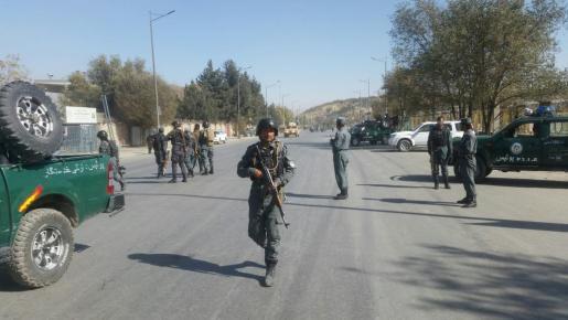 Policías en la zona donde se ha producido el ataque.
