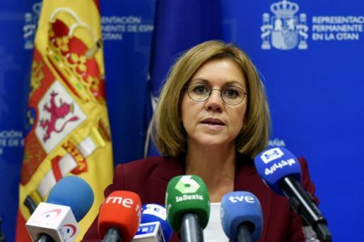 Rueda de prensa de María Dolores de Cospedal en un encuentro con homónimos en Bruselas.