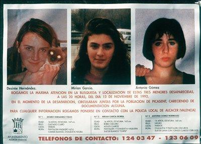 Desiré, Míriam y Toñi, las niñas asesinadas en Alcasser hace 25 años.