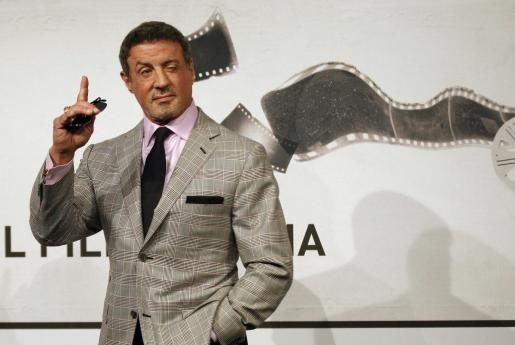 El actor Sylvester Stallone en la presentación de su película 'Bullet to the Head' en Roma.