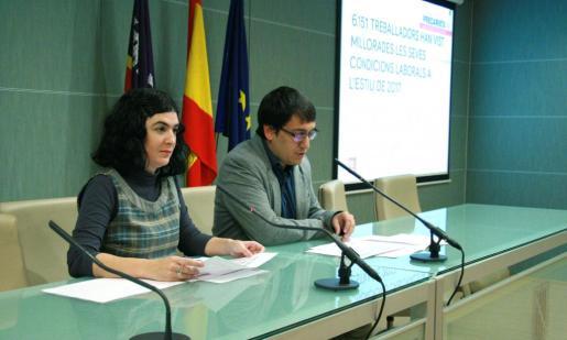 El conseller de Treball, Comerç i Indústria, Iago Negueruela, y la directora general de Treball, Economia Social i Salut Laboral, Isabel Castro, han presentado los datos este lunes.