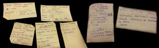 Las notas de la discordia. La testigo 31 anotó en varios 'post its' los datos de algunos policías supuestamente corruptos, según dice que le indicaban juez y fiscal.