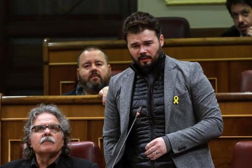 El portavoz de ERC, Gabriel Rufián, durante la pregunta que formuló al presidente del Gobierno, Mariano Rajoy, en la sesión de control al Gobierno del pasado miércoles.