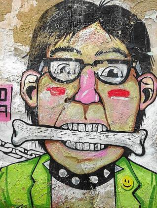 Uno de los dibujos que pueden verse en el barrio de Canamunt.