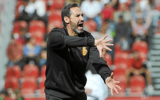 El técnico del Real Mallorca, Vicente Moreno, da instrucciones.