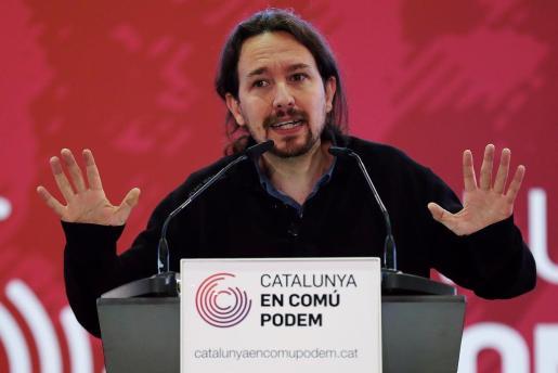 El secretario general de Podemos, Pablo Iglesias, durante la presentación del programa electoral de Catalunya En Comú-Podem (CatComú-Podem).