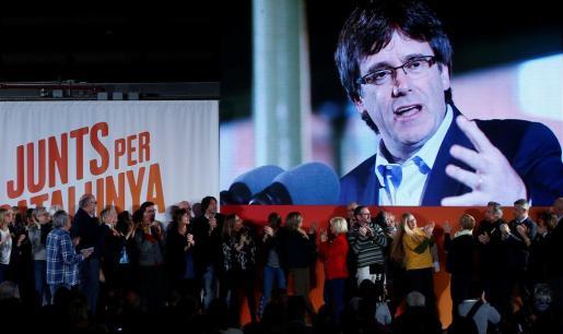 Imagen de Carles Puigdemont, durante el inicio de campaña del 21D.