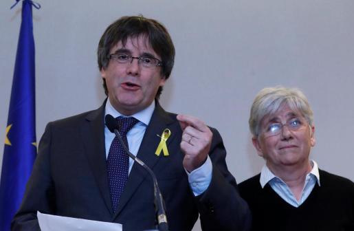 Carles Puigdemont, durante su comparecencia en Bruselas.