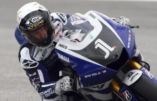 El piloto español Jorge Lorenzo, del equipo Yamaha, durante la tercera sesión libre del Gran Premio de Portugal.