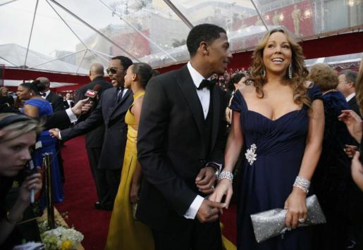La cantante Mariah Carey junto a su marido Nick Cannon a la llegada de la edición 82 de la Academy Awards celebrada en Hollywood el 7 de marzo de 2010.