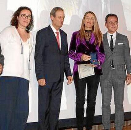 Joana María Adrover, Eduardo Gamero, Encarnación Piñero, que recogió la medalla a título póstumo a Pablo Piñero, y Hans Müller .