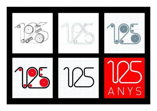 Evolución del logotipo del 125 aniversario de Ultima Hora, obra de Domiciano Brezmes y Ángel Orosa.