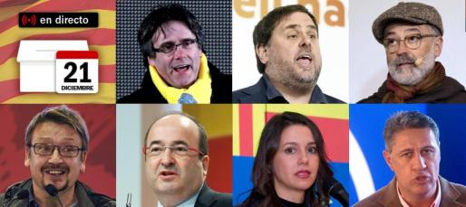 Carles Puigdemont (Junts per Catalunya), Oriol Junqueras (ERC), Carles Riera (CUP), Xavier Domènech (Catalunya en Comú-Podem), Miquel Iceta (PSC), Inés Arrimadas (C's) y Xavier García Albiol (PP).