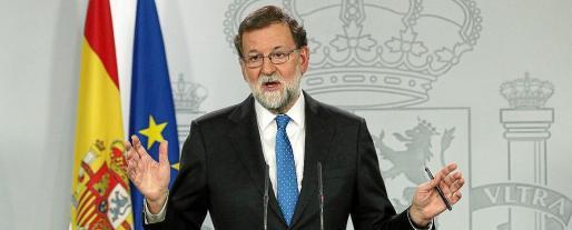 El presidente del Gobierno, Mariano Rajoy, ayer en rueda de prensa en La Moncloa.