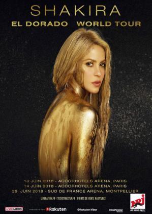 Cartel promocional de la gira 'El Dorado' de la cantante colombiana Shakira.