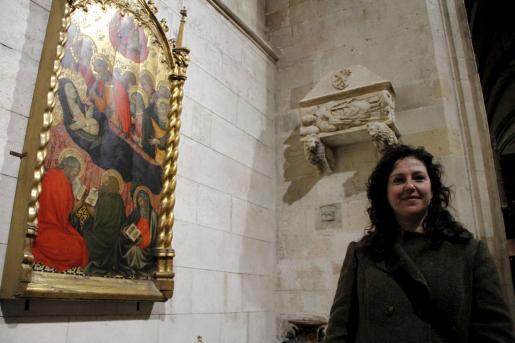 La restauradora Raquel Garduño, en la Capella de ses Ànimes.