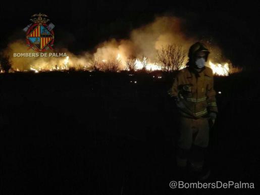 Los bomberos intervienen en un incendio agrícola.