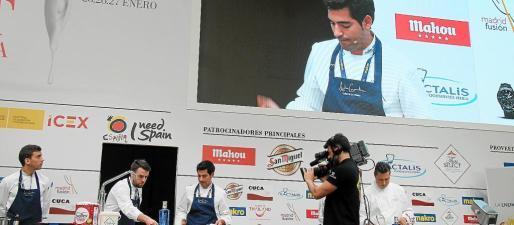 El chef Andreu Genestra, una estrella Michelín, durante una ponencia ofrecida en 2016 en Madrid Fusión.
