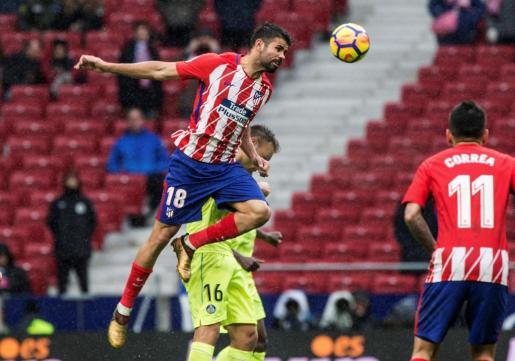 El delantero hispanobrasileño del Atlético de Madrid Diego Costa, durante el partido ante el Getafe.
