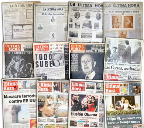 Son muchos los acontecimientos de la historia que se han reflejado en la portada del diario Ultima Hora en estos 125 años.