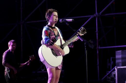 Dolores O'Riordan, cantante con The Cranberries, durante el concierto que realizó en Palma.