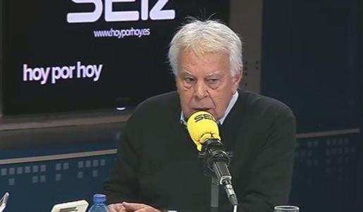 Felipe González, durante la entrevista en la Cadena Ser.