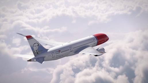 Así quedará el Boeing 787-9 Dreamliner de Norwegian cuando se haya personalizado con la imagen de Joan Miró.