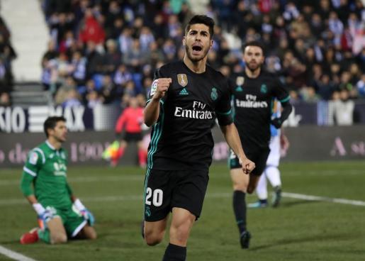 Marco Asensio celebrando su gol ante el Real Madrid.
